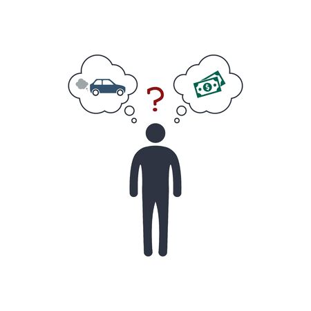 person before a choice. car or money. automobile VS dollar banknote. vector concept symbol EPS10