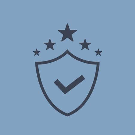 shield security icon. vector symbol in flat line simple style EPS10 Çizim