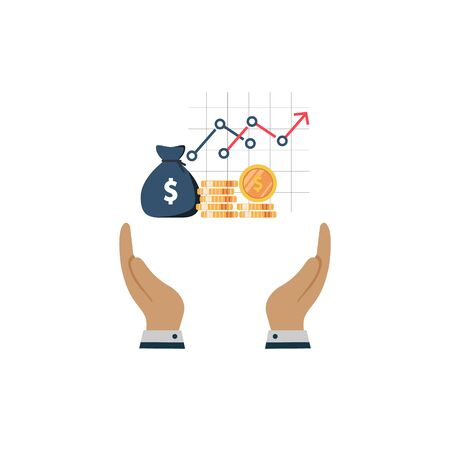 money dollar concept in the hand. vector symbol on white background in flat style Ilustração