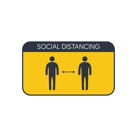 Social distancing, location or distance concept. vector symbol Ilustração