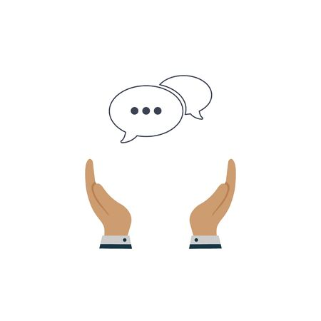 message chat icon in the hand. vector symbol on white background in flat style