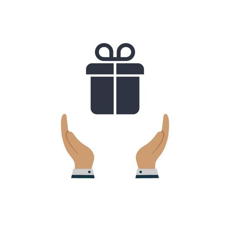 gift in hand icon. vector symbol in flat design on white background
