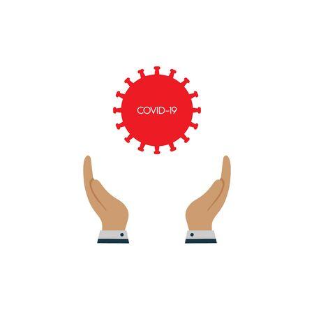 covid-19 in hand. coronavirus concept. vector symbol in flat style