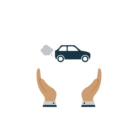 Car in hand icon. vector symbol in flat style on white background Ilustração