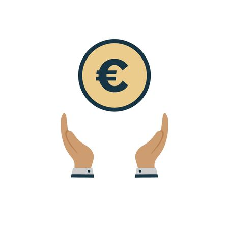 money euro in the hand. vector symbol on white background in flat style Ilustração