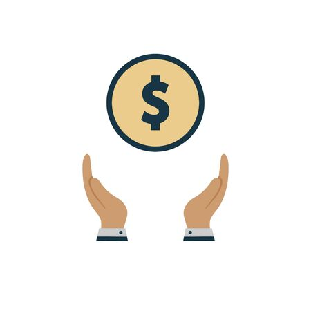 money dollar in the hand. vector symbol on white background in flat style
