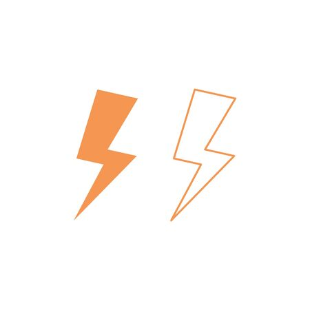 Lightning icon. vector symbol in flat design outline isolated on white background