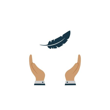 feather in hand icon. vector symbol on white background