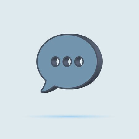 message icon. mail symbol on blue white background in flat 3D style Ilustração