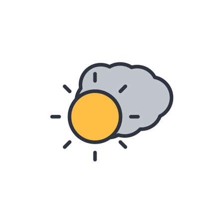 Weather forecast glossy icon. Cloudy icon on white background