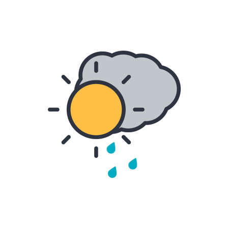 Vector illustration of weather icon - sun with cloud floats in the sky on white background Ilustração