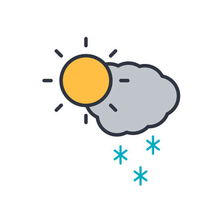 icon of snow, sun and cloud. vector symbol on white background EPS10