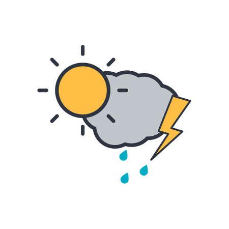 cloud lightning and sun icon. vector symbol on white background EPS10 Ilustração