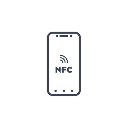 Near field communication, NFC mobile phone, NFC payment with mobile phone smartphone flat vector icon for apps and websites on white background EPS10