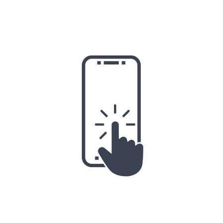 click button on screen smartphone. vector symbol in flat style EPS10 Ilustração