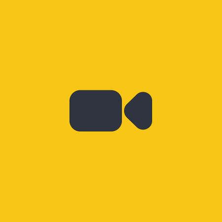 Video camera icon vector symbol on orange background in flat design EPS10 Ilustração