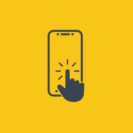click button on screen smartphone. vector symbol in flat style on orange background EPS10