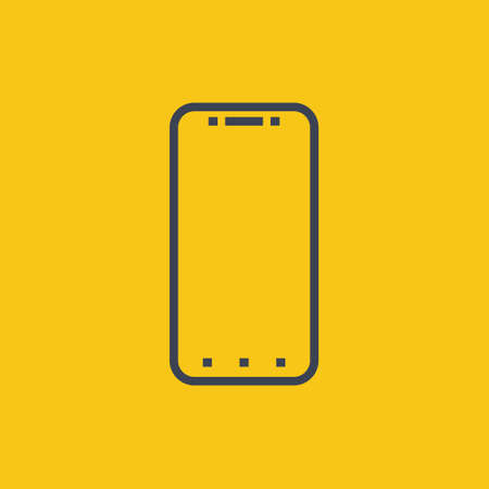 smartphone icon. vector illustration in flat simple style on orange background EPS10