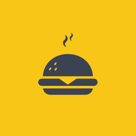 Burger Icon. vector symbol in flat simple design style on orange background EPS10