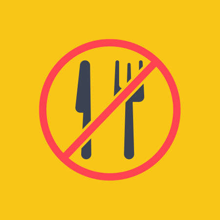 No eating. forbidden to eat. vector symbol in simple flat red color style EPS10 Ilustração