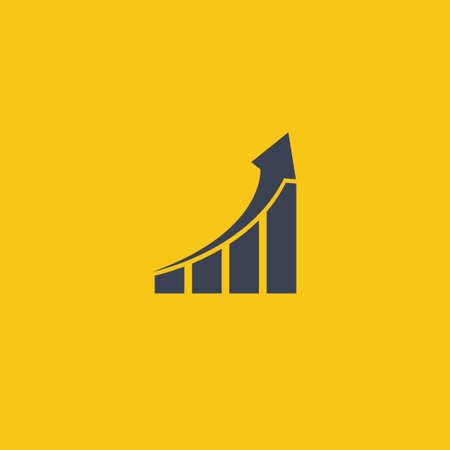 Growing graph icon. graph arrow up. vector flat symbol on orange background EPS10 Ilustração