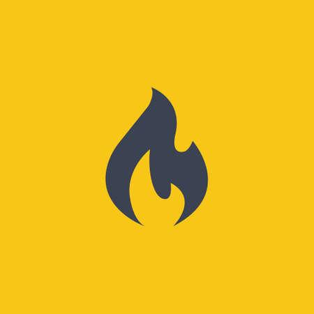 Fire icon in flat design on orange background EPS10 Ilustração