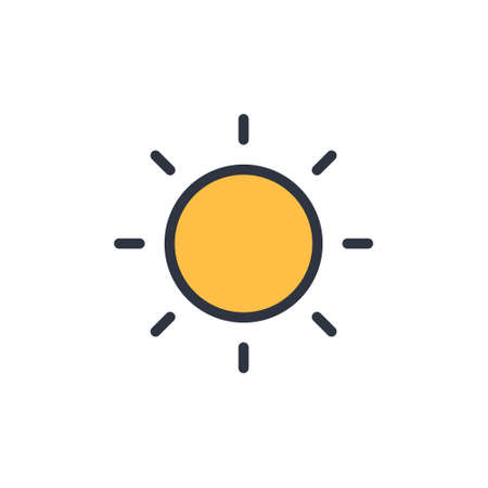 sun icon. vector sumbol concept summer in flat simple design styleon white background EPS10