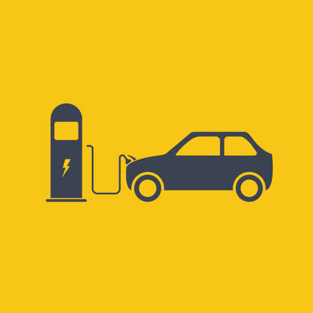 electric car is charging near the charging station. electric vehicle charging station, charging car, simple icon eco, vector symbol on orange background EPS10