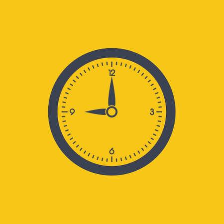 clock icon. vector symbol in flat simple design on orange background EPS10