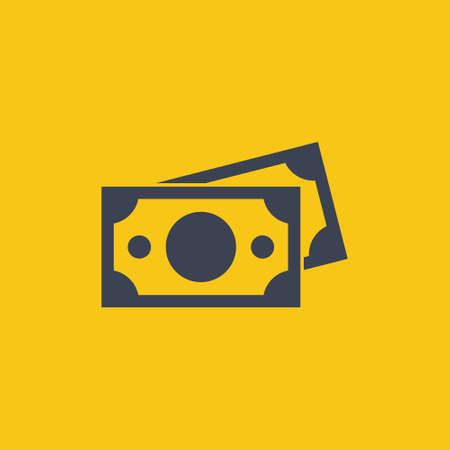 banknotes icon in flat design on orange background EPS10