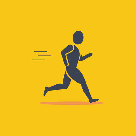 Running man in motion. Simple symbol of run isolated on a orange background. Vector Illustration EPS10