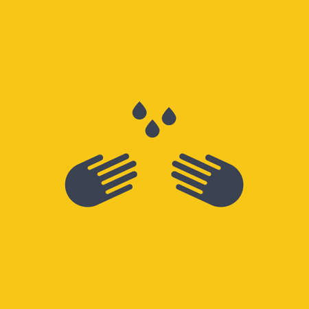 vector concept illustration of hands holding water drop on orange background icon EPS10