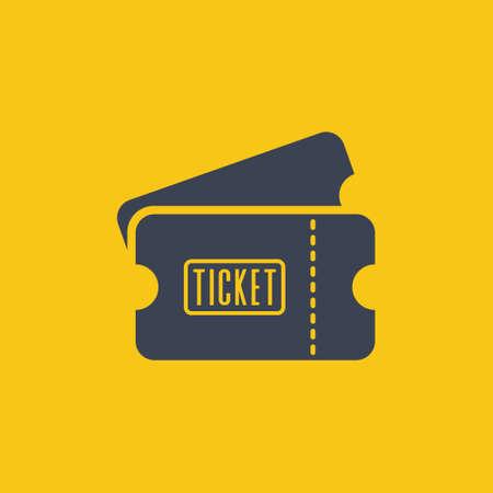 ticket icon in flat desugn on orange background EPS10