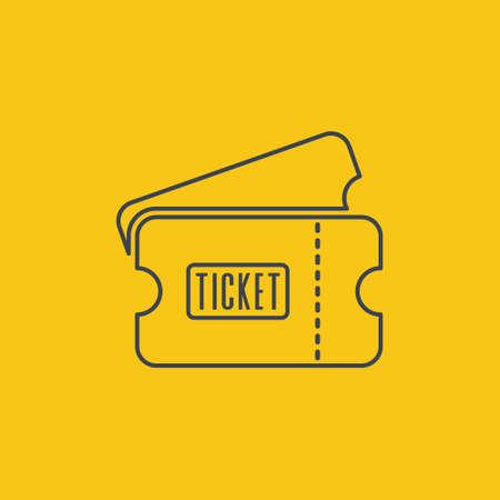 ticket icon outline in flat desugn on orange background EPS10 Ilustração