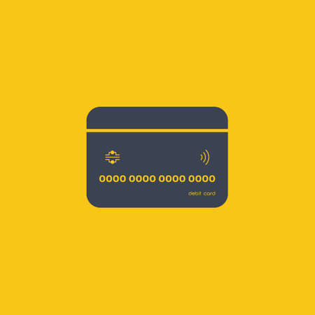 Credit Card icon. pay icon in flat design on orange background EPS10