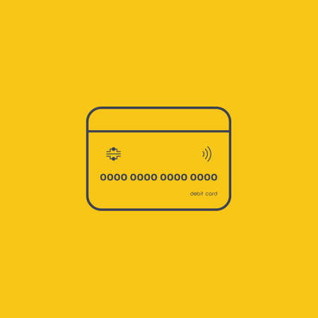 Credit Card icon. pay icon line in flat design on orange background EPS10