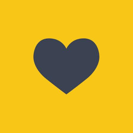 Heart icon in flat style on orange background EPS10