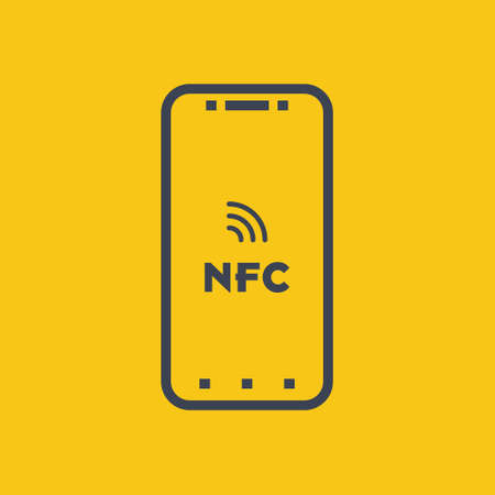 Near field communication, NFC mobile phone, NFC payment with mobile phone smartphone flat vector icon for apps and websites on orange background EPS10 Ilustração
