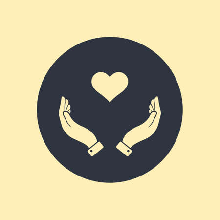 Healthcare hands holding heart flat vector icon for apps and website Ilustração