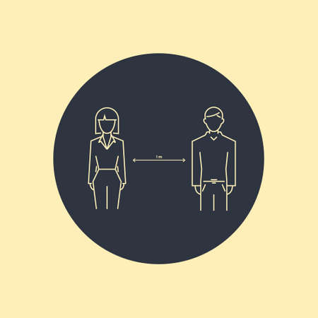 Keep distance sign. Coronovirus epidemic protective equipment. Preventive measures. Steps to protect yourself. Keep the distance. Vector symbol Ilustração