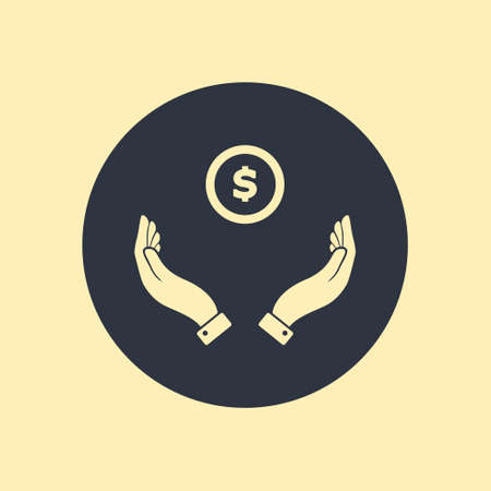 Hands Giving Receiving Money in flat icon on round background Ilustração