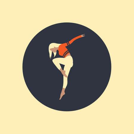 dancing girl black silhouette isolated white background. Vector illustration. Ilustração