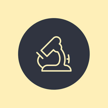 Microscope icon vector symbol in flat style on round background