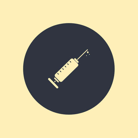 Vector Syringe Icon. vector symbol in flat icon on round background
