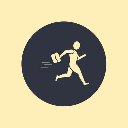 Abstract businessman running icon, vector illustration on round background