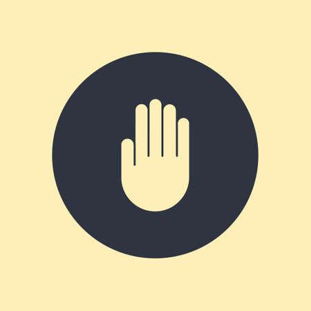 Vector Hand Icon Symbol in flat design on round background