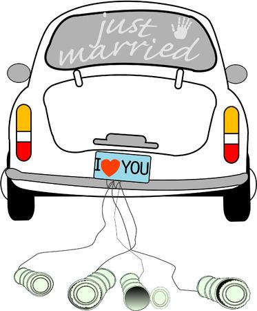 feleségül: Just married on car driving.