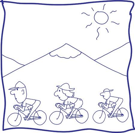 Happy family biker Vector
