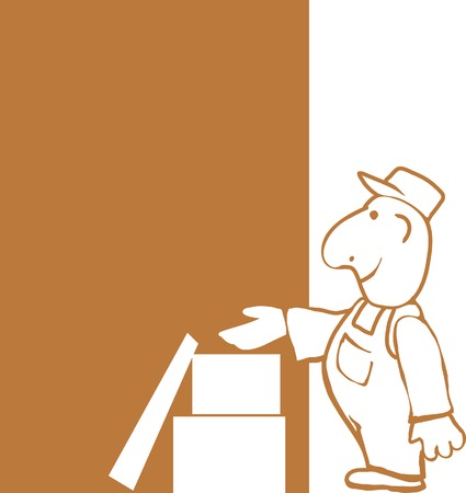 moved: Delivery man and package cartoon.  Illustration