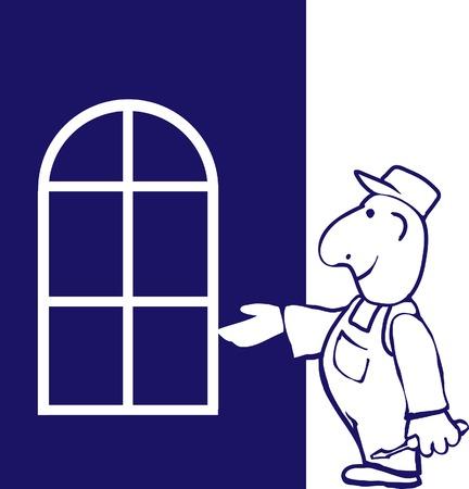 installateur: Windows installer met doos van tools.
